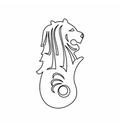 Merlion statue Singapore icon outline style vector image vector image