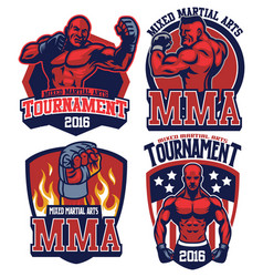 Mma fighter badge set vector