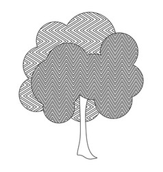 Monochrome silhouette leafy tree with zig zag vector