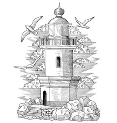 Old light house with gulls and stones vector