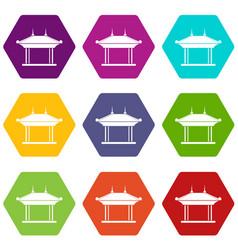 Pagoda icon set color hexahedron vector