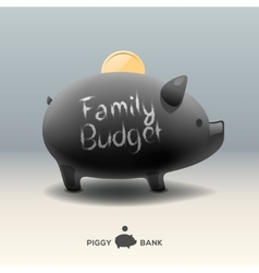 Piggy moneybox with coin - for family budget vector