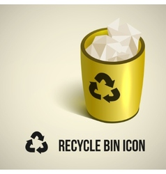 realistic yellow recycle bin icon vector image vector image