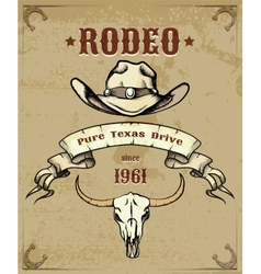 Rodeo themed graphic with cowboy hat and skull vector