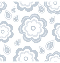 Seamless pattern with grey flowers and leaf vector image
