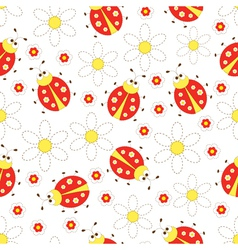 Seamless pattern with ladybugs and flowers vector image