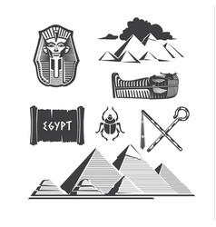 set of egyptian ancient symbol vector image