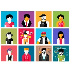 Set of stylish avatars of man and woman icons vector image vector image
