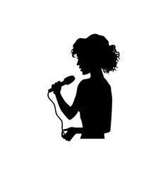 silhouette of singing woman girl half length vector image