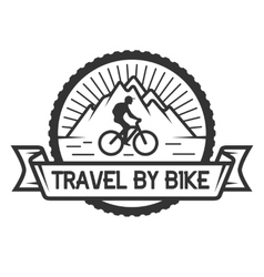 Traveling by bicycle badge emblem vector