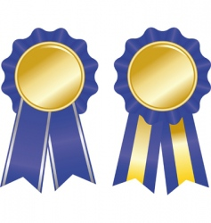 two blue award ribbons vector image vector image