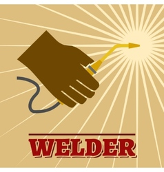 Welder retro poster vector