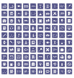 100 college icons set grunge sapphire vector