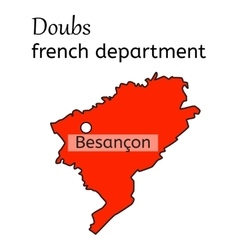 Doubs french department map vector