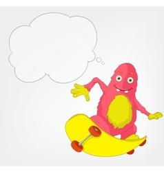 Funny Monster Skateboarding vector image