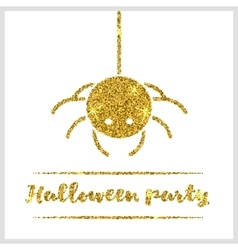Halloween gold textured spider icon vector
