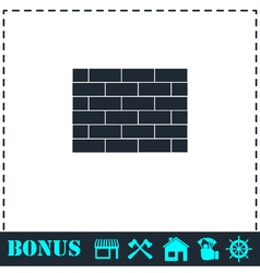 Brick wall icon flat vector