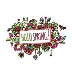 Hello spring hand drawn doodle bright vector