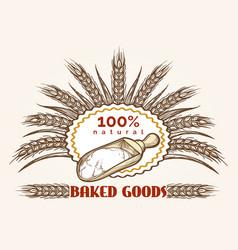 Bakery goods vintage emblem vector