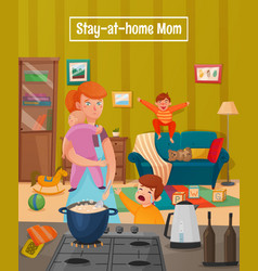 Motherhood tired mother poster vector