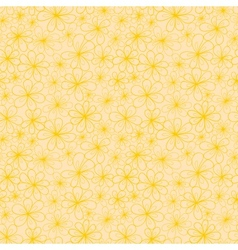 Abstract flowers seamless pattern in yellow and vector