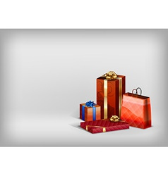 christmass red gift grey vector image