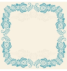 Frame of floral elements frame in gzhel style vector image