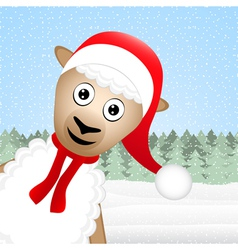 Christmas sheep peeking out of the woods vector