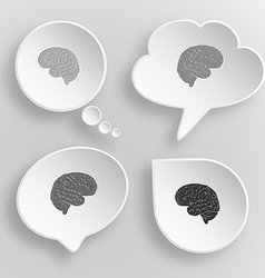 Brain white flat buttons on gray background vector
