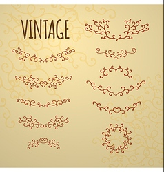 Set of vintage ornaments for design of cards invit vector