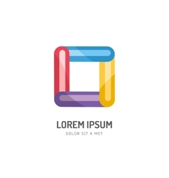 Abstract colored box icon isolated on vector