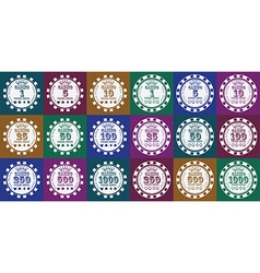 Poker chips set white on color vector