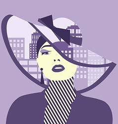 Double exposure woman with city in her hat vector