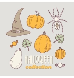 Hand drawn halloween clip art collection vector