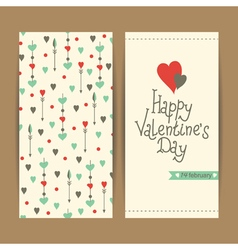 valentine card with hearts and arrows vector image