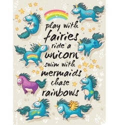 Magic card with cute unicorns cartoon vector