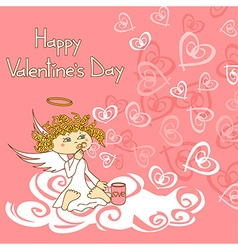 Card for valentines day with cupid and soap vector
