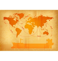 World map old paper vector