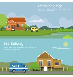 Outdoor side view on village house in countryside vector