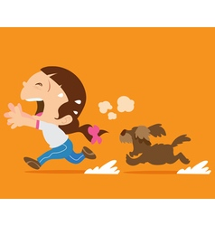 Cute girl running away from angry dog vector
