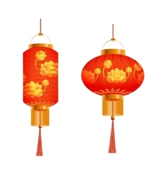 A set of orange chinese lanterns with lotus vector