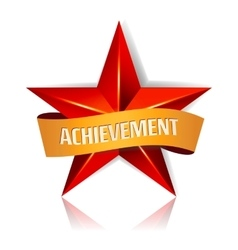 Achievement Star With Yellow Ribbon Red vector image