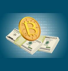 Bitcoin and usd dollars vector