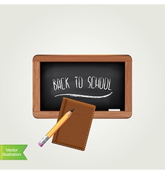 Black chalkboard with pencil isolated vector