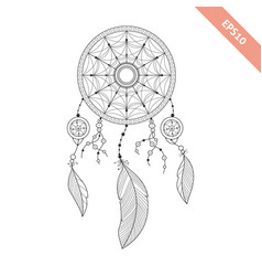 black line dream catcher isolated on white vector image