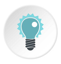 Blue electric bulb icon circle vector