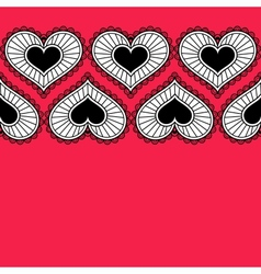 Card with ornament from hearts for Valentine vector image vector image