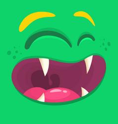 cartoon happy monster face halloween vector image