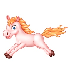 Cartoon of beautiful pink horse running vector image