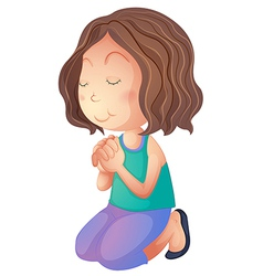 Cartoon woman praying vector